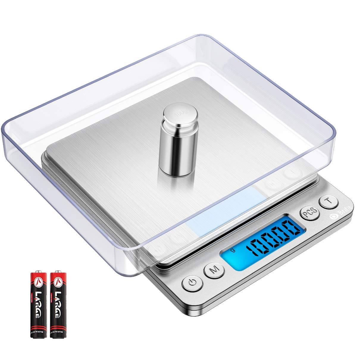 (NEW) Brifit Digital Kitchen Scale, 500g/ 0.01g Mini Pocket Jewelry Scale, 100g calibration weight, Cooking Food Scale, Back-Lit LCD Display, 2 Trays, 6 Units, Auto Off, Tare, PCS, Stainless Steel