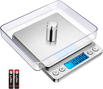 Brifit Digital Kitchen Scale, 500g/ 0.01g Mini Pocket Jewelry Scale, 100g Calibration Weight, Cooking Food Scale, Back-Lit LCD Display, 2 Trays, 6 Units, Auto Off, Tare, PCS, Stainless Steel, Silver