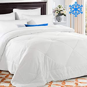 TEKAMON Summer Cooling Queen Comforter Soft Quilted Down Alternative Duvet Insert with Corner Tabs, Fluffy Reversible Collection for Hotel, Cool White, 88 x 88 inches