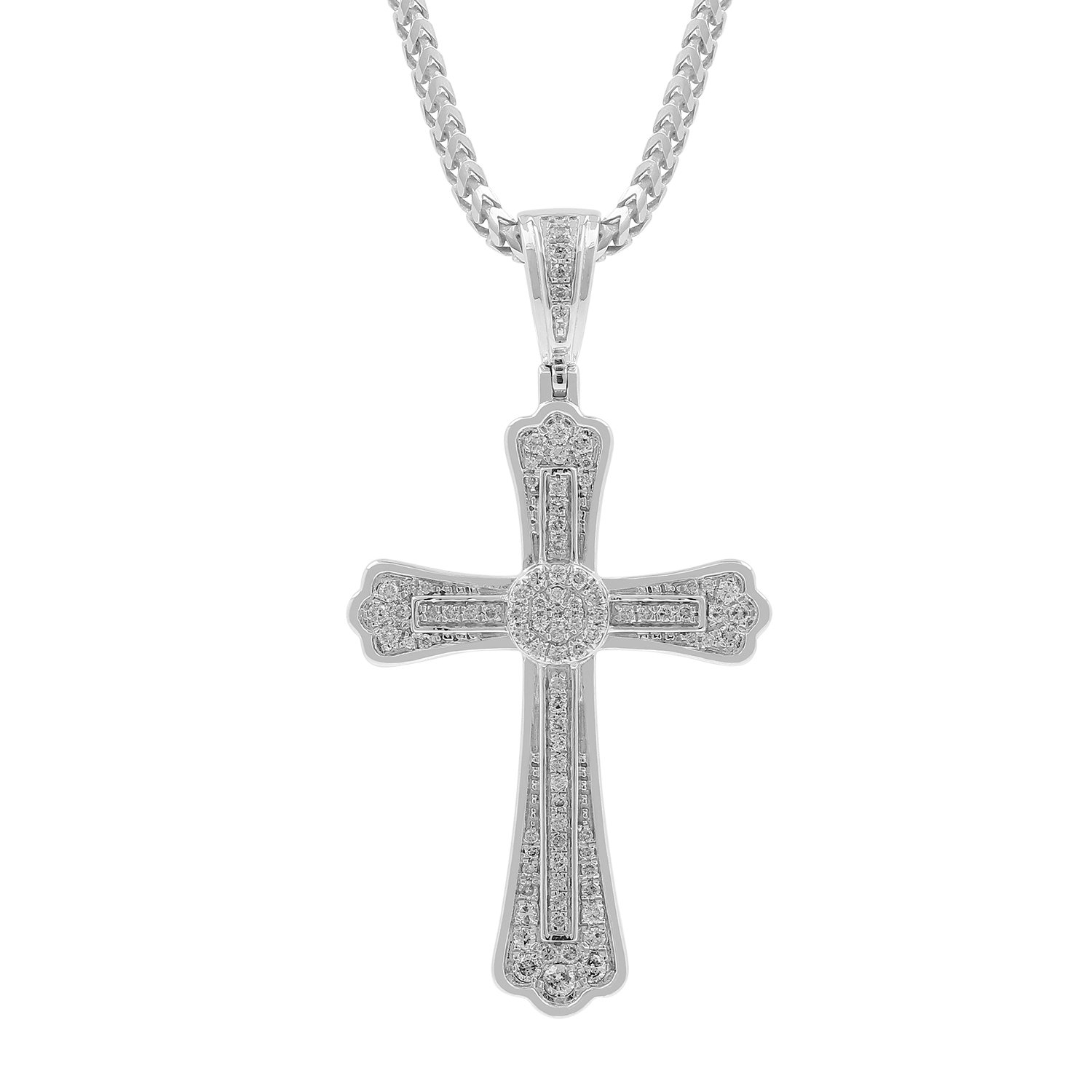 0.60ct Diamond Cross Religious Mens Hip Hop Pendant Necklace in 925 Silver (I-J, I2-I3)