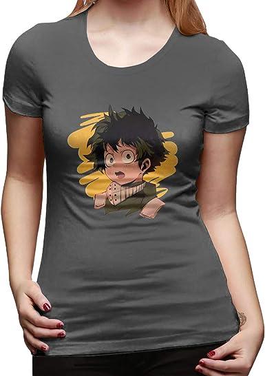 My Hero Academia Boku No Hero Izuku Midoriya Deku - Camiseta de Manga Corta para Mujer - Gris - X-Large: Amazon.es: Ropa y accesorios