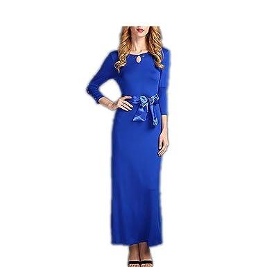 LadyCaca Fashion mulheres elásticas cor sólida vestido longo elegent moda Primavera verão vestidos