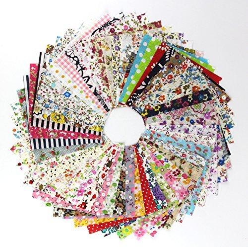 (60 Pcs Fabric Cotton 100% Printed Boundle Patchwork Squares of 10*10cm)