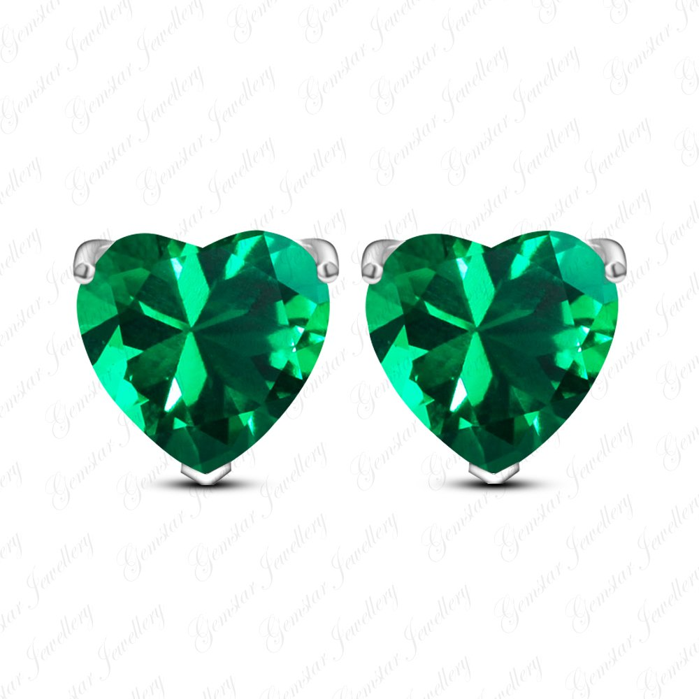 Gemstar Jewellery Solitaire Stud Earrings With Heart Shape Green Emerald 18K White Gold Plating