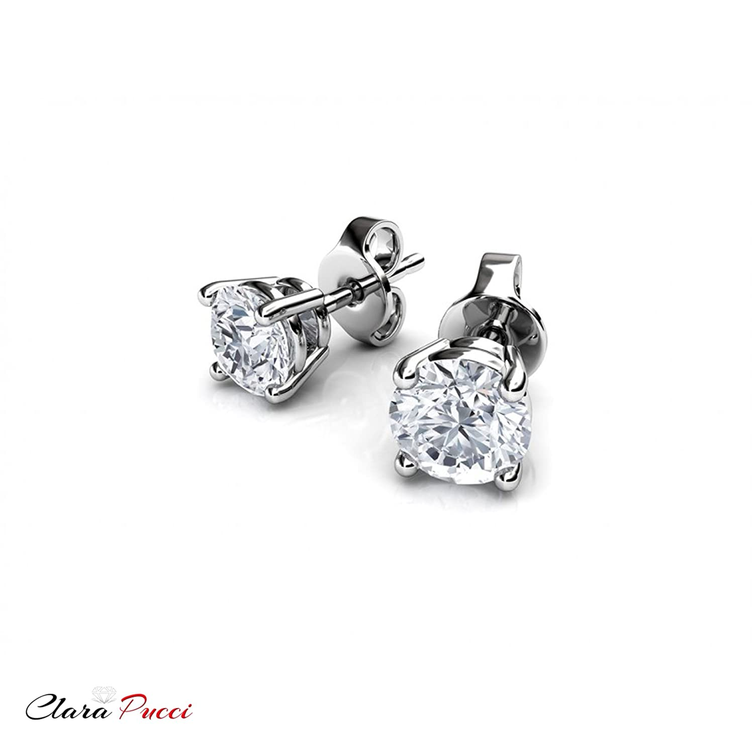 Clara Pucci 1.80 CT Round Brilliant Cut CZ Solitaire Stud Earrings in 14k White Gold Push Back