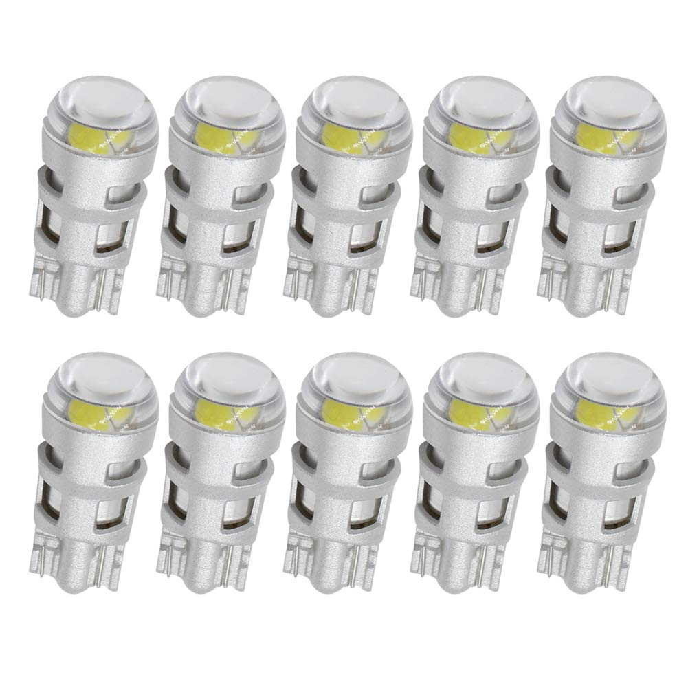 Boodled W5W 194 T10 LED Light Bulb White 921 168 LED Bulb Super Bright 5730 2SMD for Car Interior Exterior Lights Map Trunk Backup Tail Lights Turn Signal License Plate lamp.White(Pack of 10) Guangzhou BD Photoelectric Technology Co. Ltd