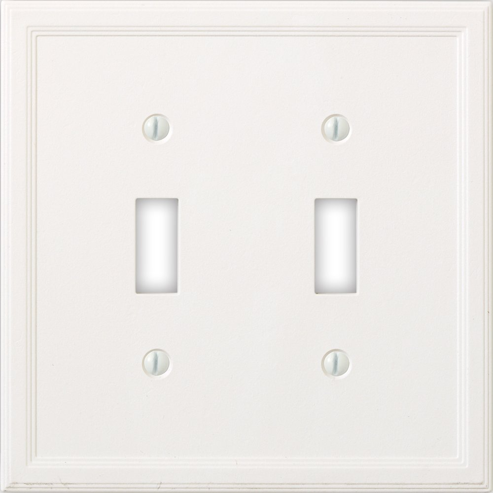Questech Cornice Insulated Decorative Switch Plate/Wall Plate Cover – Made in the USA (Double Toggle, White)
