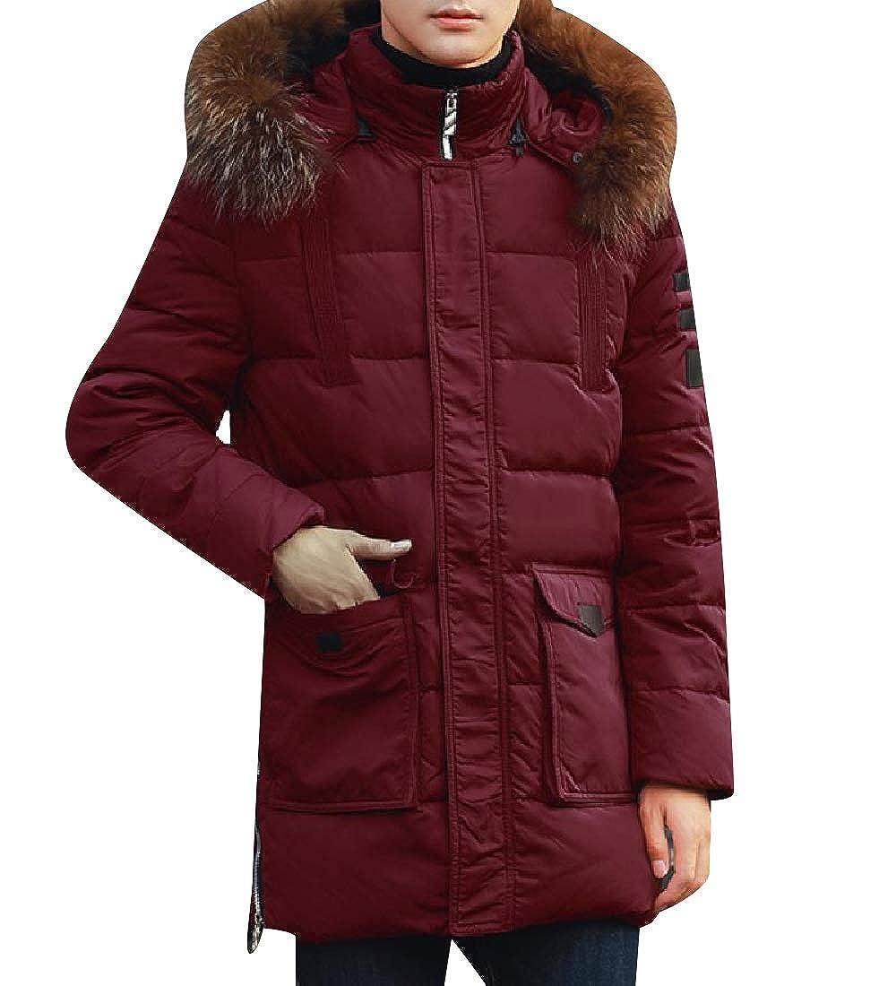 NestYu Men Mid-Long Thicken Regular Down Jacket Windproof Warm Down Coat