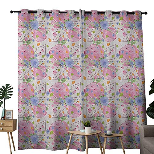 NUOMANAN Curtains 84 inch Length Flower,Fresh Garden of Spring Theme Nature Coming Alive with Flyaway Buds and Blossoms, Multicolor,Modern Farmhouse Country Curtains 52