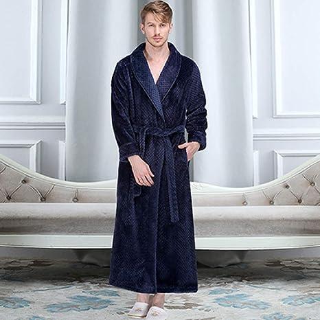 Mens Hooded Dressing Gown Bath Robe Winter Thick Warm Soft Fleece Bathrobe Coat