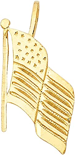 14K Yellow Gold USA Flag Charm Pendant For Necklace or Chain