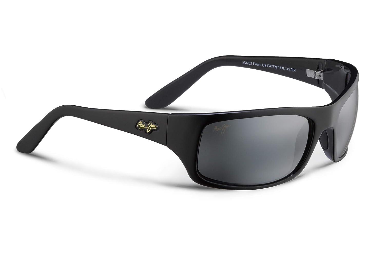Maui Jim Peahi Polarized Matte Black Wrap Frame Sunglasses