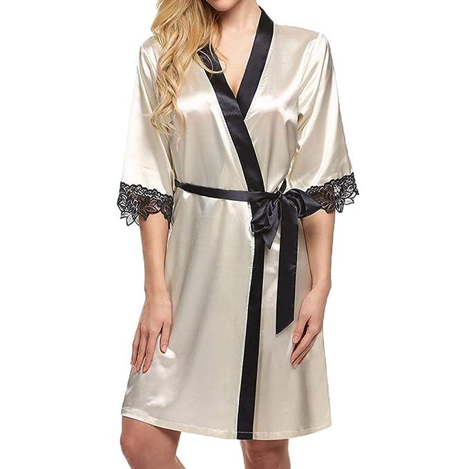 Kimono para Mujer Satin Night Robe Lace Albornoz Ropa Boda Novia Dama De Honor Batas Bata: Amazon.es: Ropa y accesorios