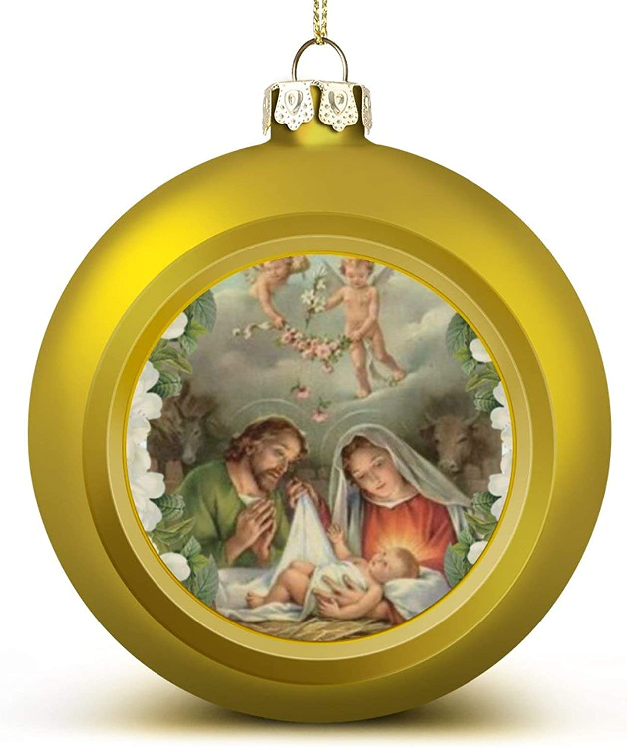 Amazon Com Christmas Ball Ornament Christmas Roses Baby Jesus St Joseph Mary Angel Xmas Tree Decorations Holiday Hanging Balls Home Kitchen