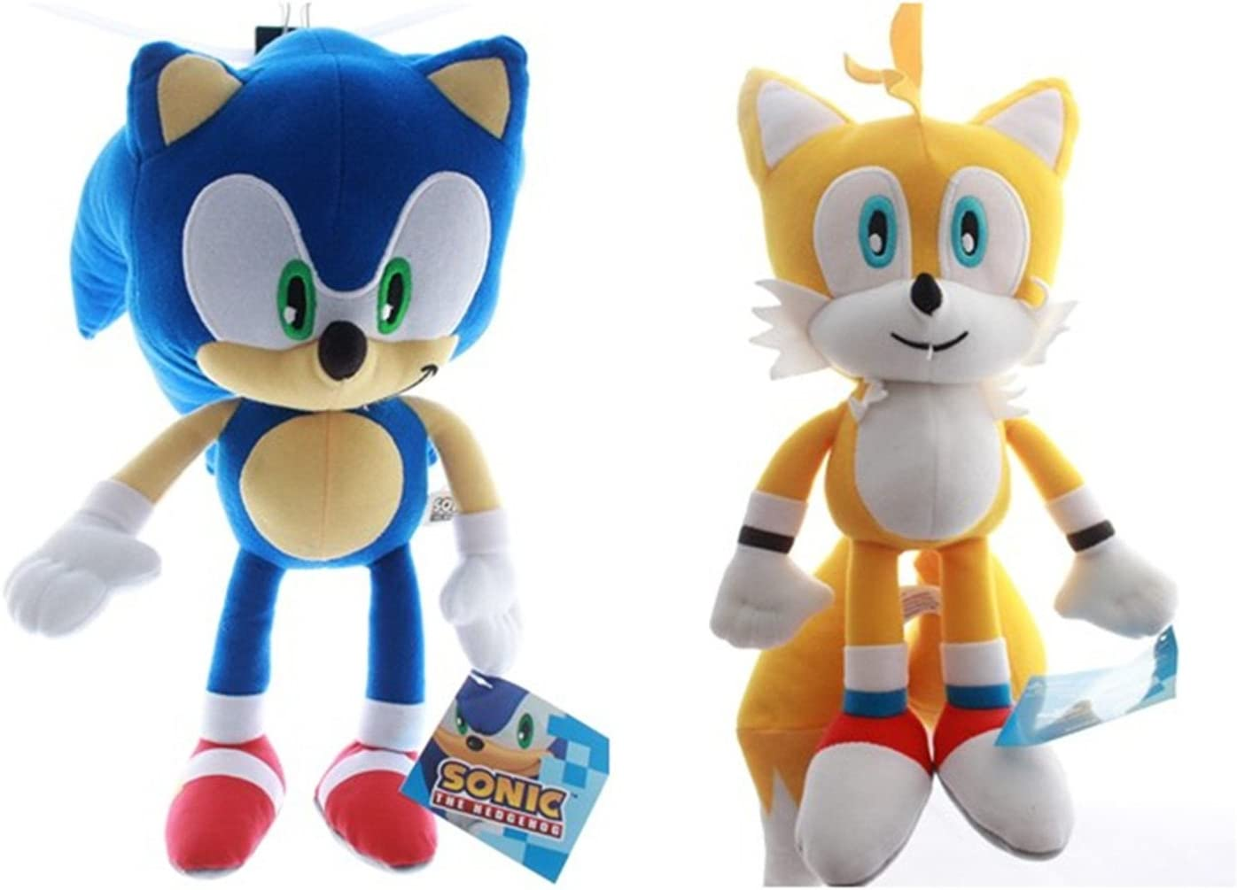 Amazon Com Sonic The Hedgehog Sonic And Tails Plush Set Toy Large Toys Games