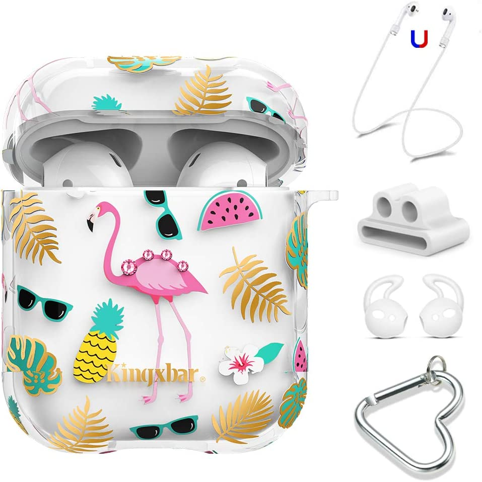 AirPods Case Cover 5 in 1 Clear Cute Case Airpods Accessories Crystal from Swarovski for Apple AirPods 2 & 1 Protective Case Flamingo Design with Keychain/Strap/Earhooks/Watch Band Holder by KINGXBAR