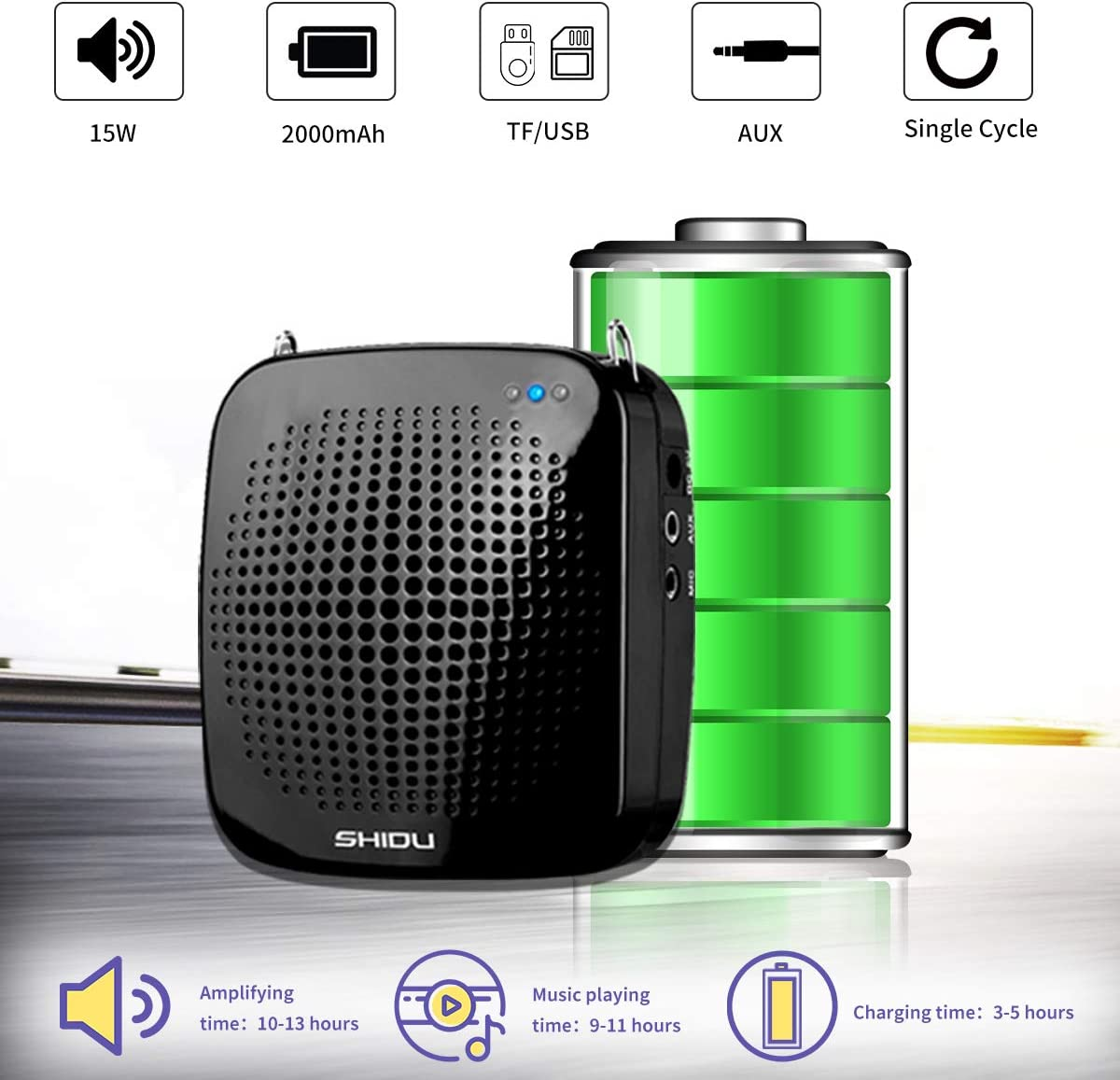 Voice Amplifier with Microphone Headset 2000 mAh Rechargeable 15W Portable Amplifier Pa Amp Speaker for Teachers Classroom,Meetings and more