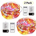 Foxcesd Dual Color LED String Lights Battery Powered 40ft Fairy Light Waterproof Dimmable Remote 8 Modes Timer for Outdoor Indoor Decorative Christmas