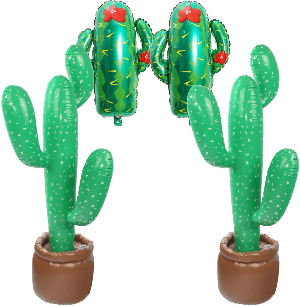 2 Pcs Inflatable Cactus Tree / 2 Pcs Cactus Foil Balloons/Fiesta Cactus Party Decorations Tropical Luau Hawaii Party Supplies