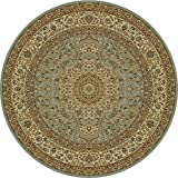 Blue Oriental 7 feet 8 inches Diameter Round Area Rug Carpet Large New For Sale