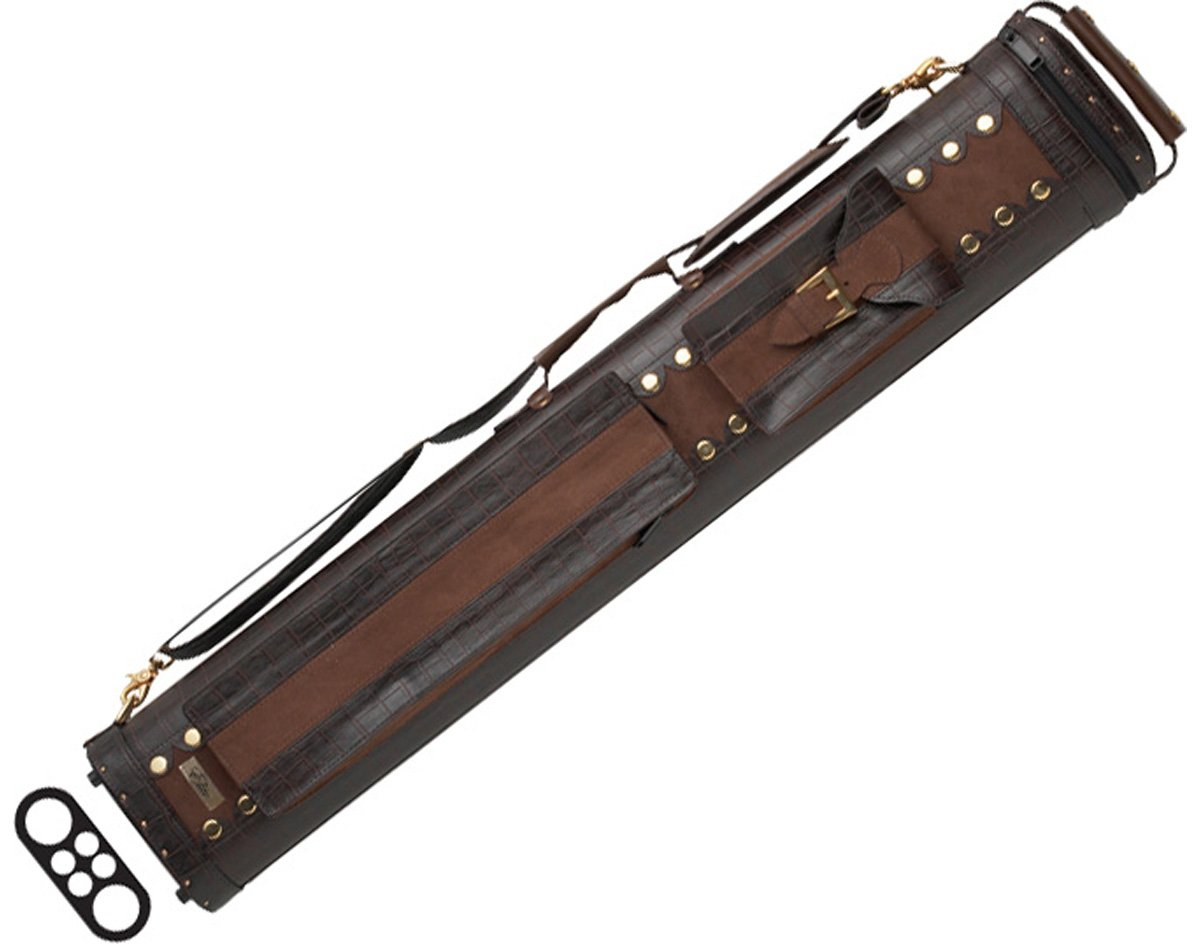 EliteShade 32'' 2 Butt and 4 Shaft Leather Pool Cue Case in Black Color: Brown