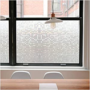 Privacy Window Films, Translucent Glass Tint Static Cling Treatment Reflects Rainbow Effect with Sunlight - Home Security and Decorative, Heat Control, UV Prevention (Crystal Mosaic, 35.4