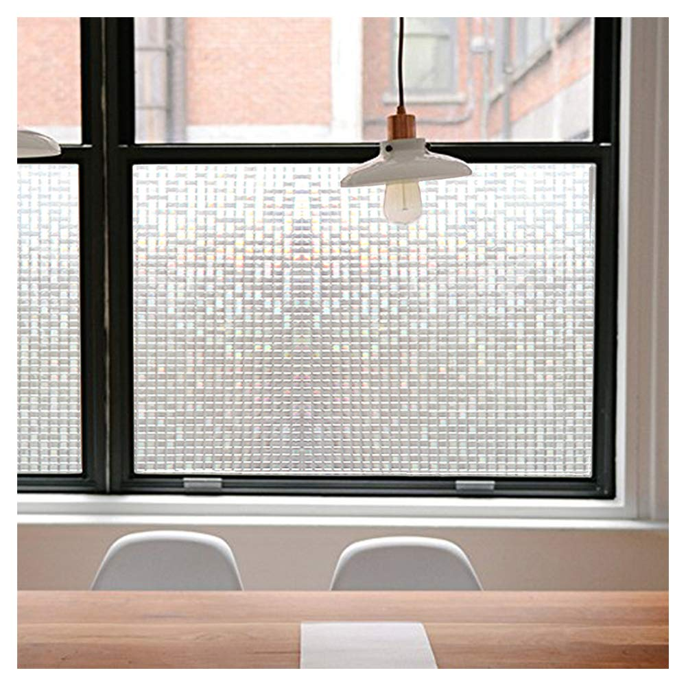Privacy Window Films, Translucent Glass Tint Static Cling Treatment Reflects Rainbow Effect with Sunlight - Home Security and Decorative, Heat Control, UV Prevention (Crystal Mosaic, 35.4x78.7 Inches) by Jahoot