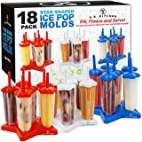 U.S. Kitchen Supply Jumbo Set of 18 Star Shaped Ice Pop Molds – Sets of 6 Red, 6 White & 6 Blue – Reusable USA Colored Ice Pop Makers – Fill, Freeze & Serve Healthy Kids Treats