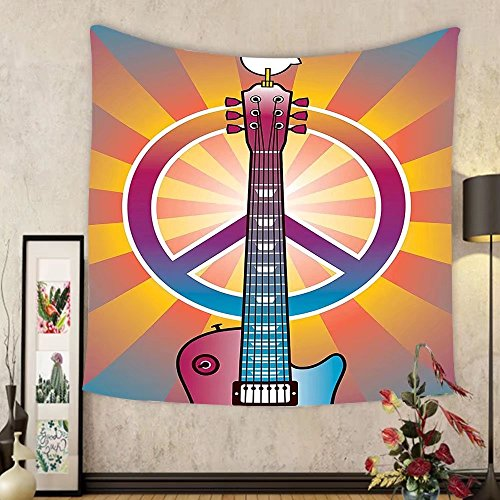 Gzhihine Custom tapestry 1960s Decor Tapestry Colorful Illustration of Guitar Peace Symbol and Dove Dedicated to the Woodstock Artsy Tribute Bedroom Living Room Dorm Decor 60 x 80 - Atlanta Woodstock To