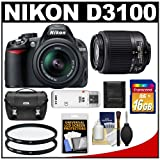 Nikon D3100 Digital SLR Camera with 18-55mm and 55-200mm DX AF-S Zoom Lens with 16GB Card + Filters + Case + Accessory Kit, Best Gadgets