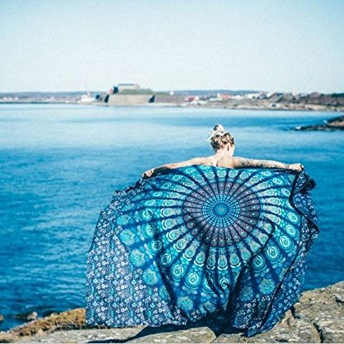 Hunputa Indian Mandala Round Roundie Beach Throw Tapestry Hippy Boho Gypsy Cotton Tablecloth Beach Towel Round Yoga Mat (Blue 05) (Gypsy Clothes 05)