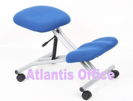 Flatpackoffice sgabello ergonomico con poggia ginocchia argento