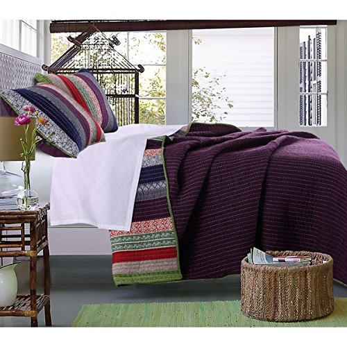 3 Piece French Country Woven Striped Theme Quilt King Set, Beautiful Multi Colored Stripe Bedding, Vintage Vertical Paisley Scroll Stripes Reversible Solid Plum Purple, Dark Navy Blue Pink Red Green by D&H