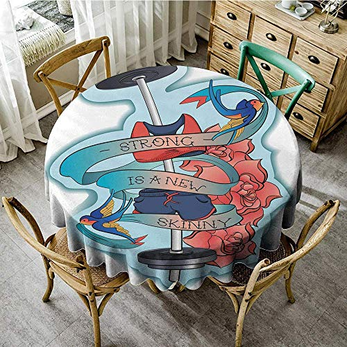 DONEECKL Dust-Proof Tablecloth Fitness Strong is a New Skinny Artistic Composition Birds Flowers Barbell Excellent Durability D39 Light Blue Dark Coral - Zoo Coral Blue Light