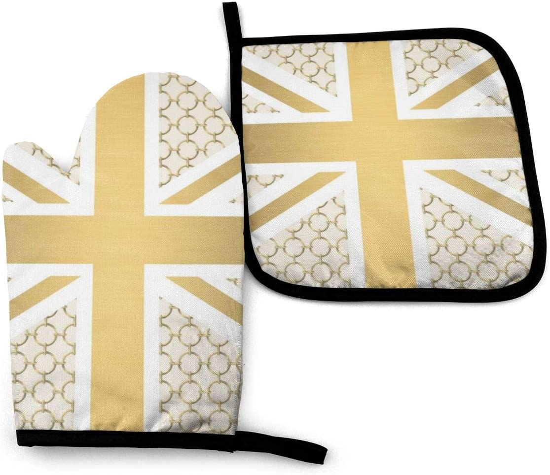 Oven Mitt and Potholder, UK Union Jack Flag with Gold Equestrian Pattern Oven Glove and Pot Holder Mat Set, Advanced Heat Resistant Oven Mitt, Non-Slip Textured Grip Pot Holders