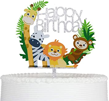 UK Cake Topper Birthday Party Happy Decoration Acrylic Supplies Glitter Cartoon