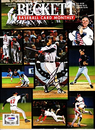 Dave Justice Signed - Autographed Beckett Magazine - Atlanta Braves 1995 World Series Champions - PSA/DNA Certificate of Authenticity (COA)