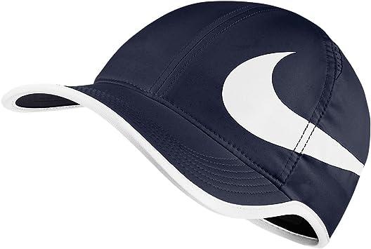 NIKE Unisex Featherlite Aerobill Swoosh Hat Obsidian Blue/White ...