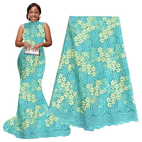 pqdaysun 5 Yards African Net Lace Fabrics Nigerian French Fabric Embroidery and Rhinestones Guipure Cord Lace (aqua)