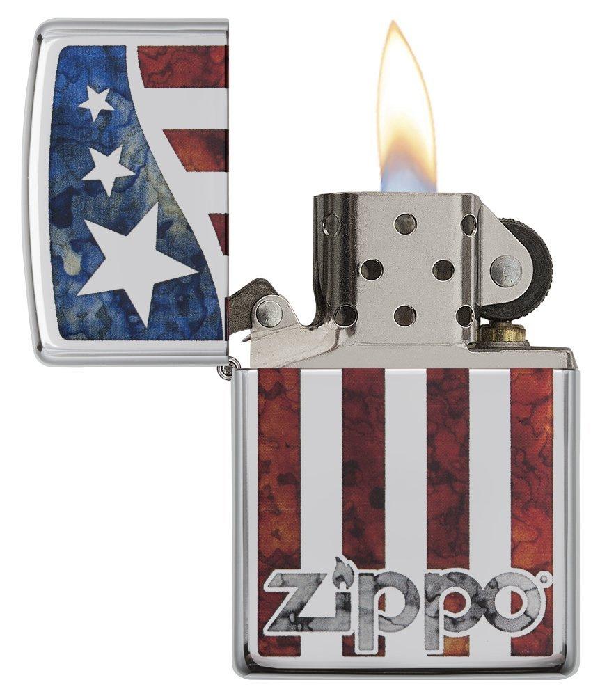 Zippo American Flag Pocket Lighter, High Polish Chrome by Zippo (Image #3)