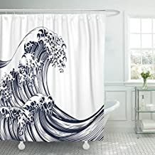 MAYTEC Shower Curtain Black Chinese Oriental Japanese Great Wave in Vintage Retro Engraved Etching Woodcut Style Black Ink Waterproof Polyester Fabric 72 x 72 inches Set with Hooks
