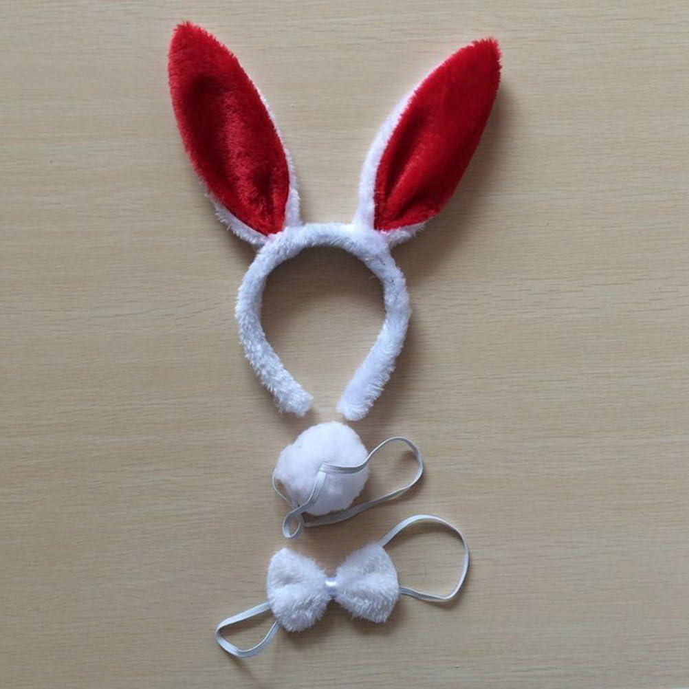 2 Sets Cosplay Rabbit Supplies Bunny Ears Headband Bow Ties Tail Set Party