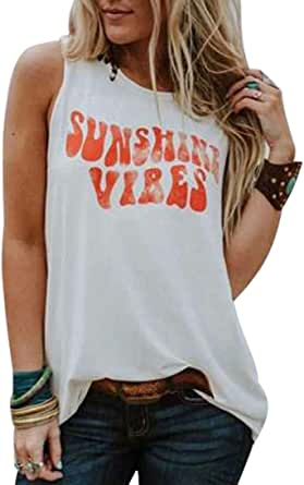 BANGELY Sunshine Vibes Letter Print Vest T Shirt Women's Summer Sleeveless Graphic Tank Tops Casual Loose Workout Tees