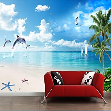Papel Pintado Playa Coco Landscape Dolphin Tv Fotomural 3d Mural