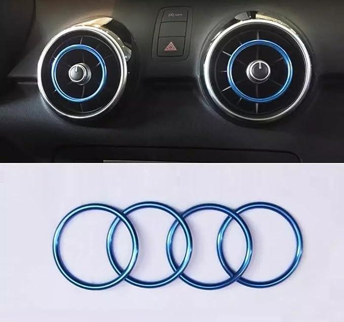 Ht4you Zierringe A1 8x Lüftungsdüsen Lüftungsringe Ringe Luftauslassdüsen Lüftungsgitter Belüftung Lüftung Klimatronic Blau Auto