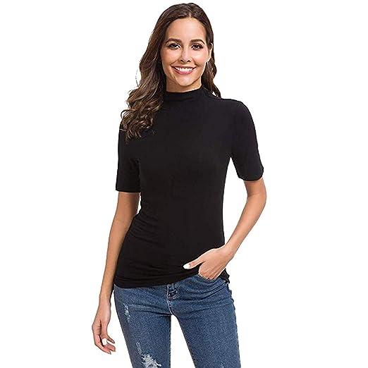 Caren Blusa De Cuello Alto Sexy para Mujer Sólido Slim Fit Verano ...
