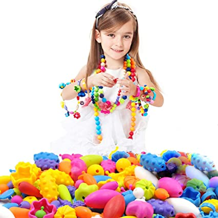 145a9c4b0 Looching 290pcs DIY Necklace Bracelet Art Crafts Pop Snap Beads Set  Creative Jewelry Making Kit Gift