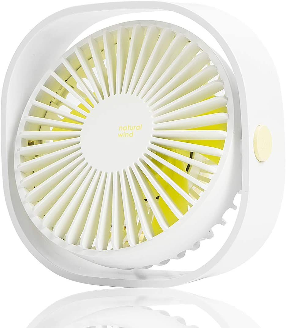 LoiStu USB Desk Fan, 4 Inch Portable Ultra-Quiet Mini Fan, 360° Up and Down, Three-Speed Wind, Suitable for Office, Family (White)