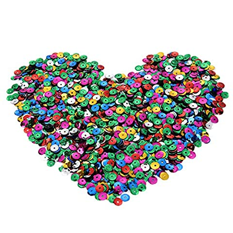 eBoot 70 Grams Loose Sequins Cup Sequins Bulk Iridescent Spangles Craft Supplies for Embroidery Applique Arts and Embellishment, Assorted Colors, 6 mm