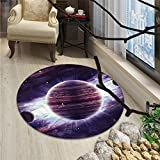 Galaxy Round Rugs Outer Space Theme Planets Saturn Mars Neptune Science Fiction Solar Scene ArtprintOriental Floor and Carpets Mauve Purple